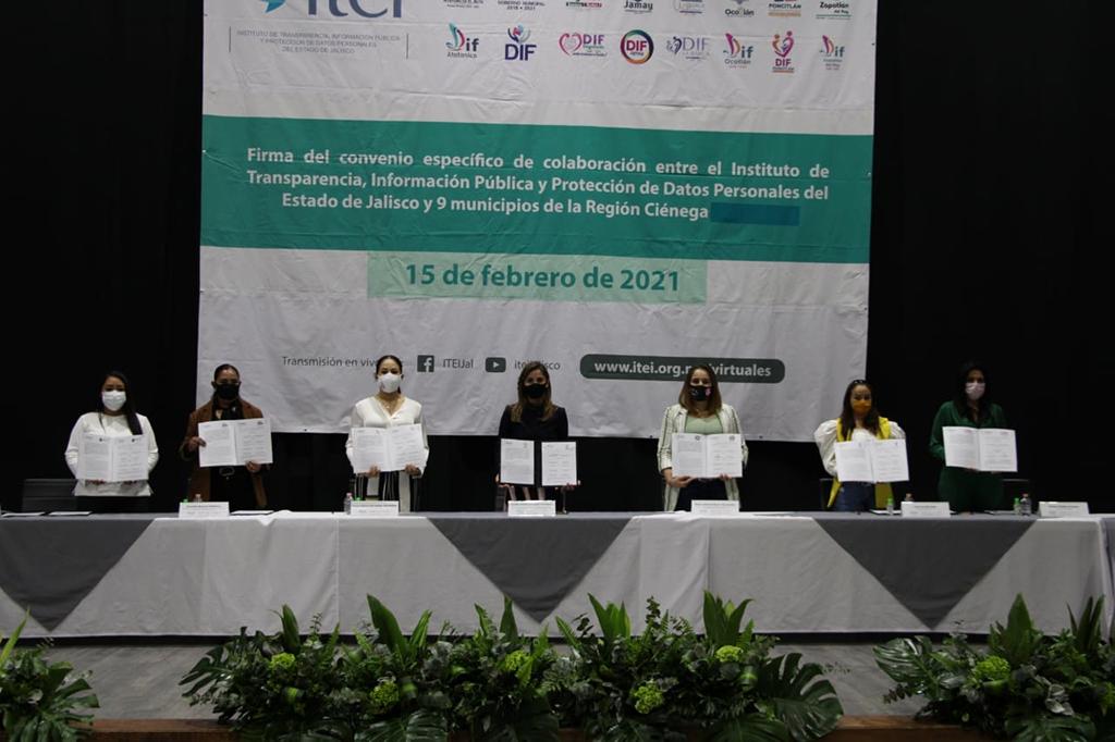 Firman convenio 6 municipios y 7 sistemas DIF con el ITEI de la región Ciénega, buscan ser más transparentes